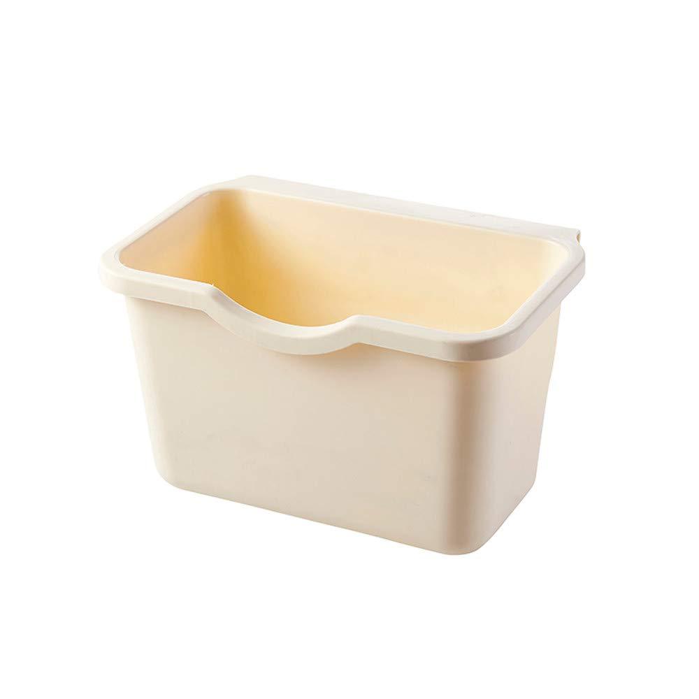 Hanging Trash Garbage Bin Can,SIN+MON Kitchen Cabinet Plastic Basket Wastebaskets Door Rubbish Container Mountable Kitchen Compost Bin Waste Together Under Sink (Beige)