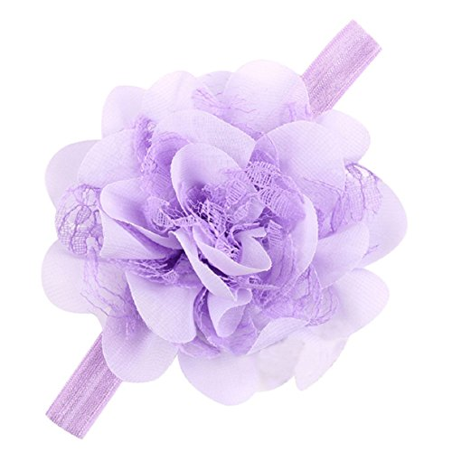 Bestpriceam® Newborn Girls Headband Headdress with Chiffon Foot Flower (Light Purple)
