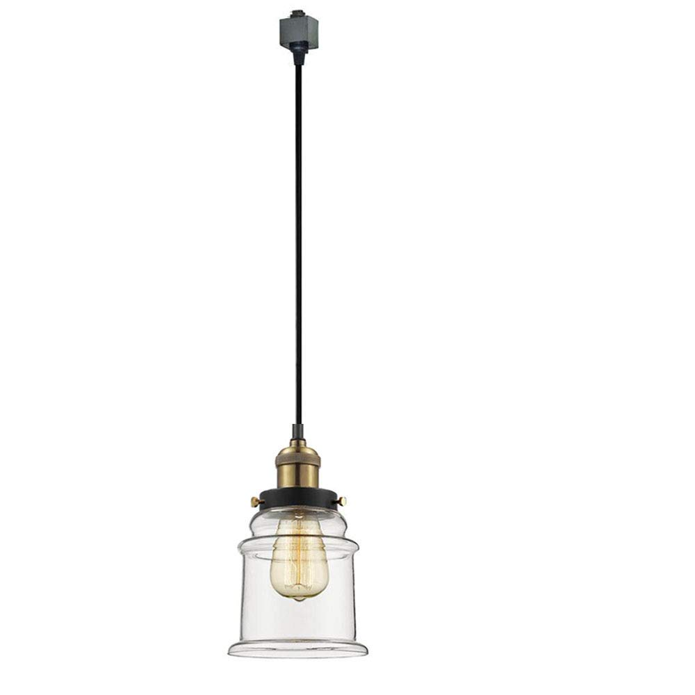 KIVEN H-Type 3 Wire Miniature Pendant Track Lighting Fixture Restaurant Chandelier Decorative Chandelier Instant Pendant Industrial Factory Glass Pendant Lamp,Bulb Include,One Light by Kiven (Image #1)