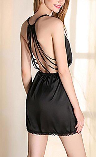 Unique Senza E Kimono Spaghetti Neck Schienale HX Vestito Nero Estivo Vestaglie V Colore Donna Pigiama Ragazze Moda Elegante Puro Sciolto Corti Vestiti fashion Nobile Zxzaw7qHZ