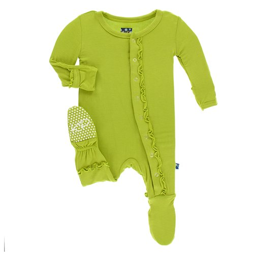Kickee Pants Solid Classic Ruffle Footie with Snaps Meadow 6-9M