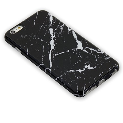iPhone 6 Plus/ 6S Plus TPU Case Heavy Duty Cover for iPhone 6 5.5-inch Flexible Soft Anti-Scratch Marble Color Series (black white stripe)
