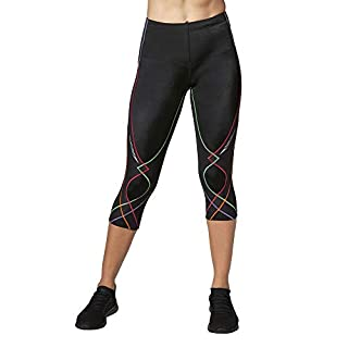 CW-X Conditioning Wear Women's 3/4 Length Stabilyx Tights, Black Rainbow, X-Small