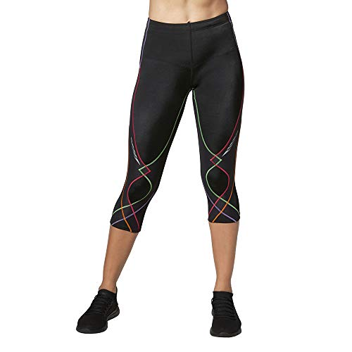 CW-X Conditioning Wear Women's 3/4 Length Stabilyx Tights, Black Rainbow, Small