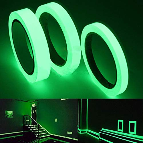 Bonsa - Durable 10 M Length Width 1 Cm 2 Luminous Tape Self Adhesive Glow In The Dark Stage Sticker Home - Glow Theatre Orange Clothes Disc Stone Flame Safety Rings Clothing Clio Outdoor Dark Bik