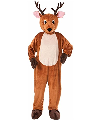 Forum Novelties Men's Reindeer Plush Mascot Costume, Brown, One Size(Fits up to Chest size 42) -