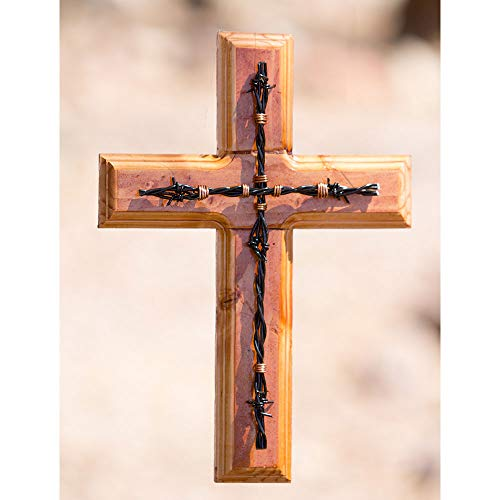 Clr Wood Finish - Wooden Cross-Phoenix Cross (Medium Wood Finish w/Black Nail)