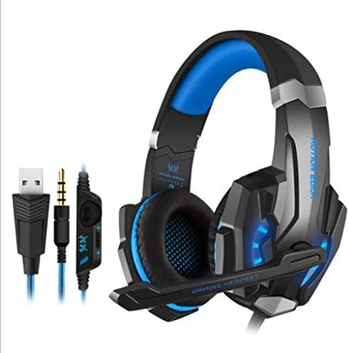 Chasdi G9000 Stereo Gaming Headset for Xbox One Series X S Ps5 PS4 PC Switch with Noise Cancelling Mic, LED Lights, Volume Control 3.5mm (Blue)