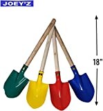 JOEY'Z 18' Heavy Duty Wooden Kids Sand Beach Shovel with Plastic Spade & Handle - Colors May Vary (1 Pack - 18' Shovel with Handle, Assorted Colors)