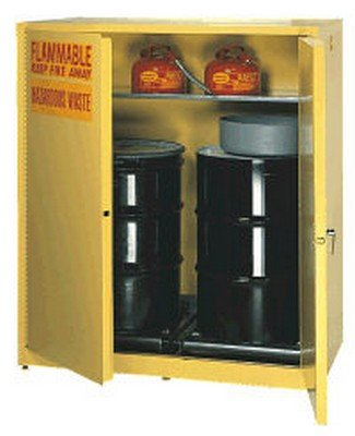 Vertical Drum Storage Cabinet - Eagle 110 Gallon 2 Drum Vertical Manual Closing Cabinet - 58