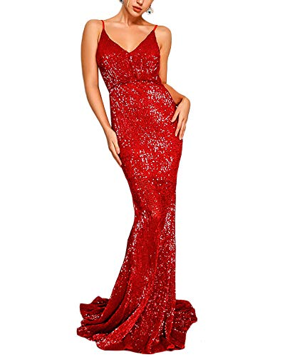 Joyfunear Women's Sequined Sparkle Mermaid Evening Party Cocktail Maxi Long Dress Prom Gown Red ()