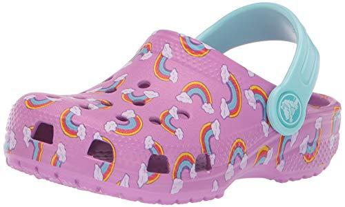 Crocs Kids' Classic Seasonal Graphic Rainbows Clog, Violet, 3 M US Little Kid ()