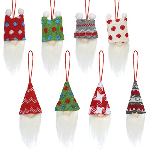 1Tomte Gnome Christmas Ornaments,8 Styles Christmas Tree Hanging Gnomes Handmade Swedish Tomte for Christmas Tree Wall Table Decorations Supplies