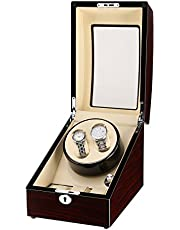 Excelvan Automatic Watch Winder Dual Watch Winder with Extra 3 Leather Storage Case Handmade Wooden Watch Box, 4 Modes Rotation Timer Function - Brown & Cream