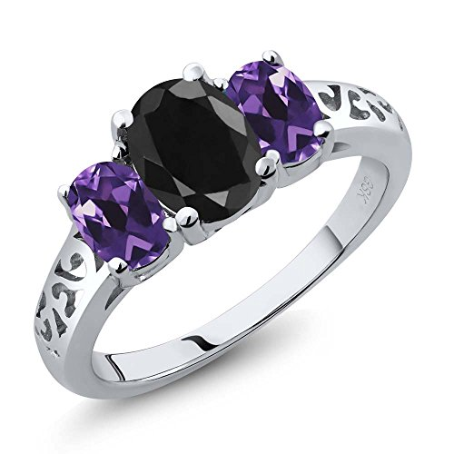 2.36 Ct Oval Black Sapphire Purple Amethyst 925 Sterling Silver 3 Stone Ring (Ring Sapphire Trellis)