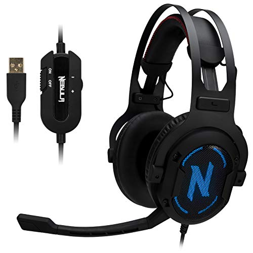 Rosewill Gaming Headset, 7.1 Surround Sound RGB, Comfortable Memory Foam Ear Pads, Noise Isolation Headphones w/Microphone for Immersive Gaming, Booming Bass, Audio - Nebula GX60