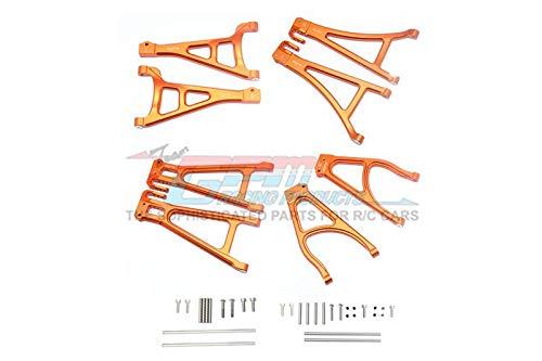 GPM Traxxas E-Revo 2.0 VXL Brushless (86086-4) Upgrade Parts Aluminum Full Suspension Arm Set (Front+Rear & Upper+Lower) - 8Pc Set Orange