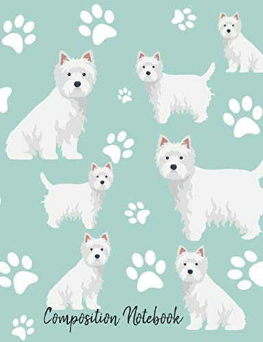(Composition Notebook: West Highland White Terrier Paw Prints Cute School Notebook 100 Pages Wide Ruled Paper (Dog Breed Composition Books))