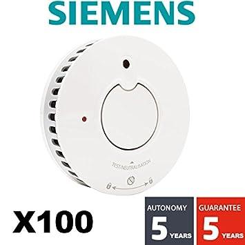 Siemens - Lote de 100 detectores de humo NF 5 años de autonomía y garantía Delta Reflex 5tc1292 - 1: Amazon.es: Bricolaje y herramientas