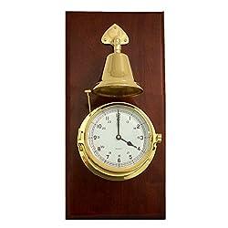 Time Factory AJ-SS552 Lacquered Brass Porthole Quartz Striking Bell Clock on Mahogany Wood