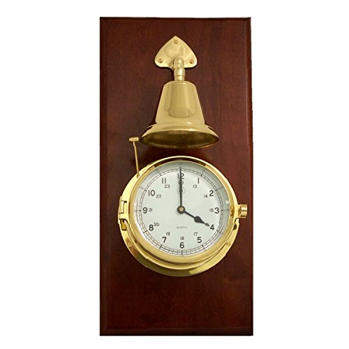 Time Factory AJ-SS552 Lacquered Brass Porthole Quartz Striking Bell Clock on Mahogany Wood