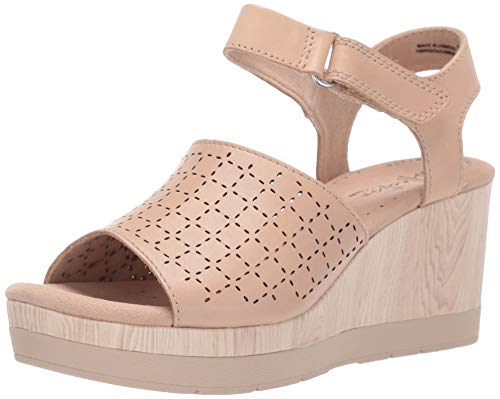 CLARKS Women's Cammy Glory Wedge Sandal, Blush Leather, 100 W US