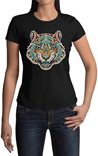 Okdok Damska T-Shirt Tigerkopf Design Odzież Odzież: Odzież