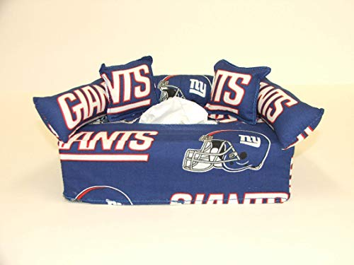 (New York Giants NFL Licensed fabric tissue box cover. Includes Tissue)