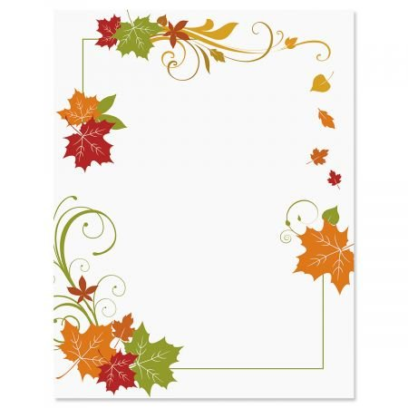 Fall Flourish Fall Letter Papers - Fall stationery papers are 8-1/2