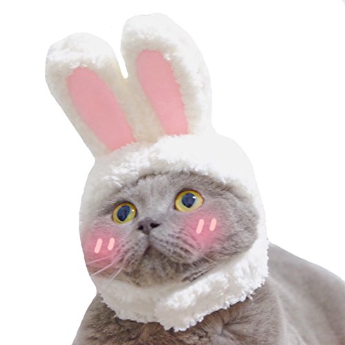 PERTTY Costume Bunny Rabbit Hat with Ears for Cats & Small Dogs Party Costume Accessory Headwear