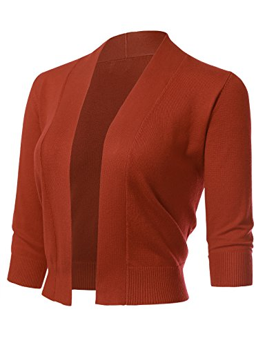 Women's Classic 3/4 Sleeve Open Front Cropped Cardigans (S-XL) XL Rust (Dot Cardigan Sweater)