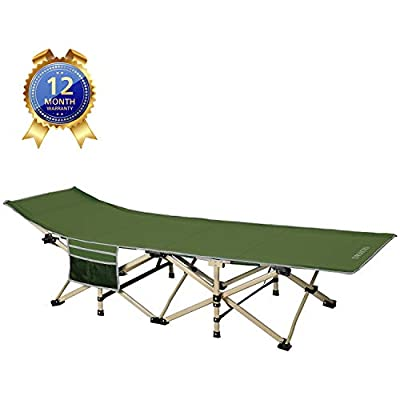 DRMOIS Camping cots, Oversized Portable Foldable Outdoor Bed with Carry Bag, Heavy Duty Camp Cots for Traveling Beach Vocation and Indoor Office Nap Home Lounging, Support 500 Lbs-Army Green: Sports & Outdoors