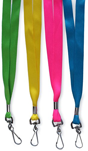 Set of 4 Ultra-Soft Printed ID Neck Lanyard - Solid Color Brights ()