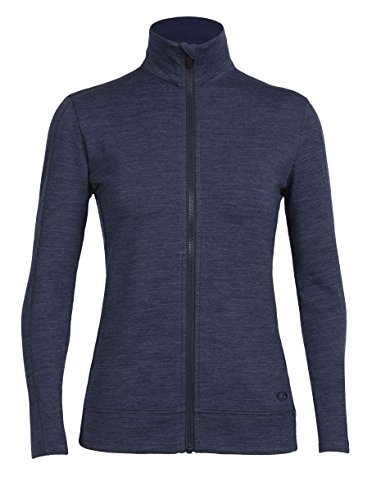 - Icebreaker Merino Women's Dia Long Sleeve Zip Sweater, Fathom Heather/Fathom Heather, Small