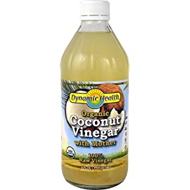 Coconut Vinegar w/Mother Certified Organic Dynamic Health 16 oz Liquid 180 Coconut Vinegar w/Mother Certified Organic 16 oz LiquidProduct DescriptionThe organic coconut vinegar is made from coconut sap. It is low glycemic and cont