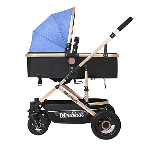 High Landscape Lightweight Baby Stroller, Four Wheel Damping Adjustable Pram Travel System Carriage Infant Pushchair Multicolor