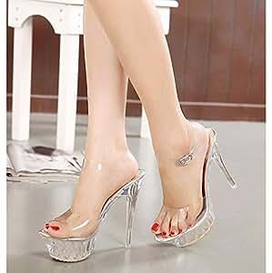 ZFAFA Zapatos de Cristal para Mujer Tacón Alto Crystal Plataforma Sandalias Boca de Pescado Peep Toe Tacón Aguja Correa Cruzada Zapatos de Boda Fiesta, Transparent