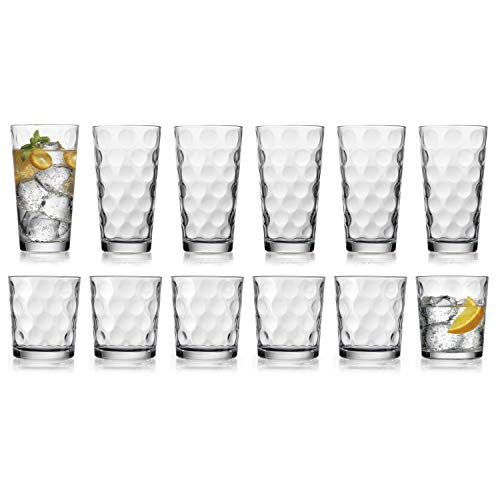 HE Modern Drinking Glasses Set, 12-Count Galaxy Glassware, Includes 6 Cooler Glasses(17oz) 6 DOF Glasses(14oz)12-piece Elegant Glassware Set