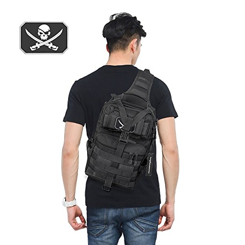 Tactical Sling Backpack Bag Military Molle Assault Pack Rucksack Daypack for Outdoors Camping Hiking Hunting (Black)