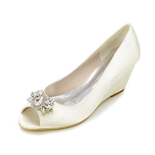 Yy-rui Scarpe Da Donna Pumps Tacco Alto Elegante Zeppa Con Diamanti Partito Sera Lavoro Avorio