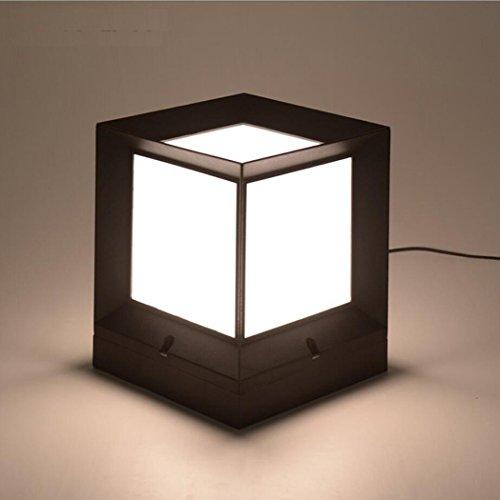 Iron Lanterns Collection (LED Light Post Lights Contemporary Collection Exterior Outdoor Post Lantern Column Lights Pillar Light Yard Light(15cm15cm18cm) Black Home Decoration)