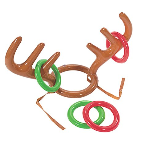 Amosfun 3pcs PVC Inflatable Reindeer Antler Toss Game Christmas Hat Antler Ring Toss Holiday Party Game Toys Christmas Decoration Children's Party -