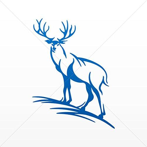 Decal Sticker Deer Elk Hunting Decorative Motorbike Bicycle Vehicle AT Blue Dark (7 X 5.24 In)