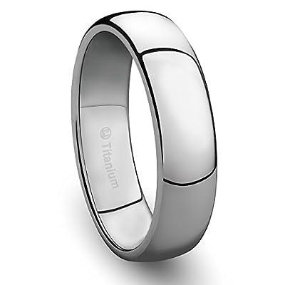 6MM Titanium Ring Classic Wedding Band with Polished Finish