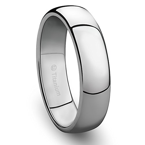 Titanium Polished Finish - 6MM Mens Titanium Ring Classic Wedding Band with Polished Finish [Size 9]