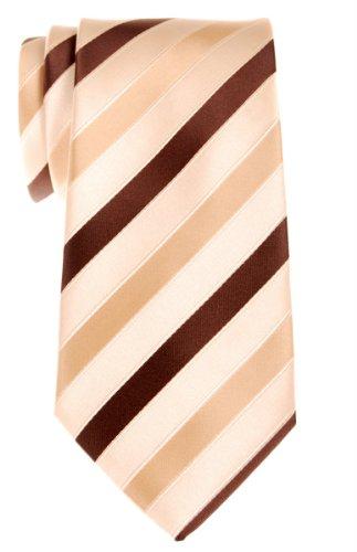 Retreez Three-Colour Stripe Woven Microfiber Men's Tie Necktie - Yellow and (Yellow Stripe Tie)