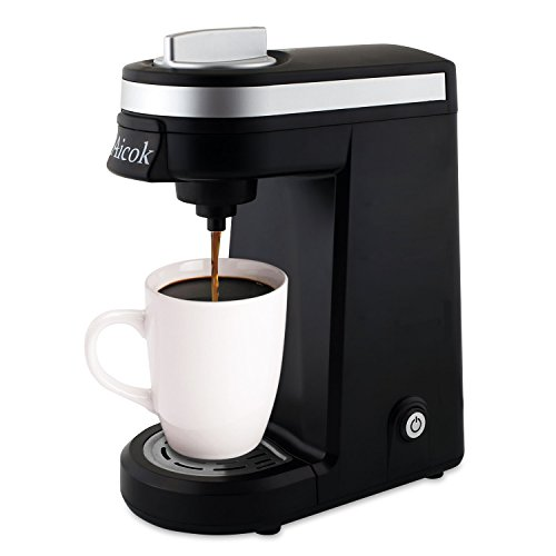 Aicok Single Serve Coffee Maker Travel Coffee Machine One Cup Coffee Brewer for Most single cup pods, including K-Cup pods