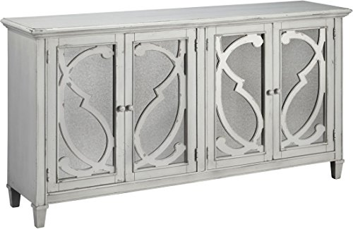Signature Design by Ashley T505-562 Mirimyn Accent Cabinet, 4-door, Gray (Mirrored Traditional Cabinet)