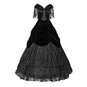 Punk Rave Gothic Black Sexy Deep V-Neck Velveteen Long Dress Steampunk Off Shoulder Lace Party Dresses