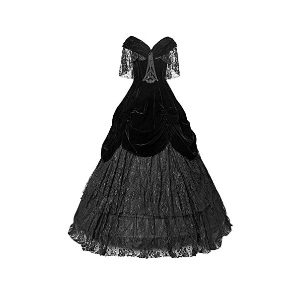 Punk Rave Gothic Black Sexy Deep V-Neck Velveteen Long Dress Steampunk Off Shoulder Lace Party Dresses 3